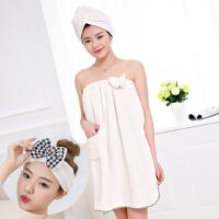 ???裹胸浴巾女可穿加大比纯棉柔软吸水性感可爱韩版抹胸浴裙套装 140x70cm