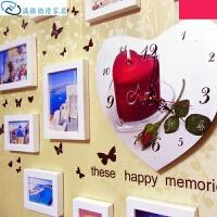 照片墙相框组合 实木相框洗照片创意组合心形结婚客厅卧室装饰挂墙照片 钟表款