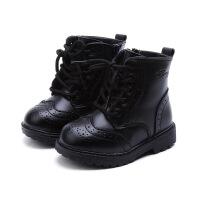 童鞋秋冬款真皮儿童马丁靴英伦风男童靴子韩版时尚百搭女童皮靴潮 黑色 单靴