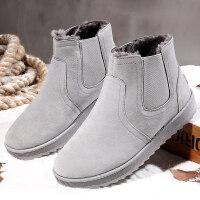 东北雪地靴男保暖加绒冬季男鞋子2018新款短筒套脚加厚棉靴面包鞋