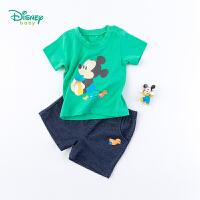 【3件3折到手价:57.9】迪士尼Disney童装 男童短袖套装夏季新品米奇印花T恤五分裤两件套