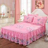 纯棉床裙床罩席梦思床套三件套防尘保护套1.5米1.8m全棉床单床笠 藕色 花灯游