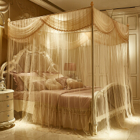 公主宫廷三开门1.8m落地式蚊帐不锈钢加粗家用1.5米2米加密加厚