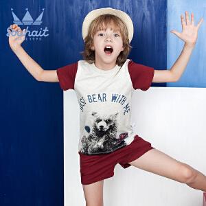 【3折价:53.7元】水孩儿souhait男童短袖短裤套装2018夏儿童卡通印花两件套炫酷短袖套装AAXXL358
