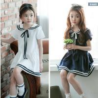 2018年夏季新款韩版女童全棉连衣裙中大娃娃领海军风连衣裙