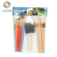 儿童水彩画笔刷尼龙刷子25支装木杆画笔 猪鬃刷子海绵刷画刷 25件套画笔
