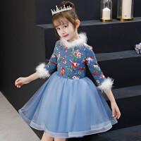 儿童礼服加厚加绒女童公主裙蓬蓬裙长袖花童生日演出服晚礼服秋冬 蓝色