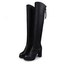2018新款冬秋单靴高跟长靴显瘦弹力靴黑色高筒靴韩版女粗跟过膝靴真皮 黑色 皮面