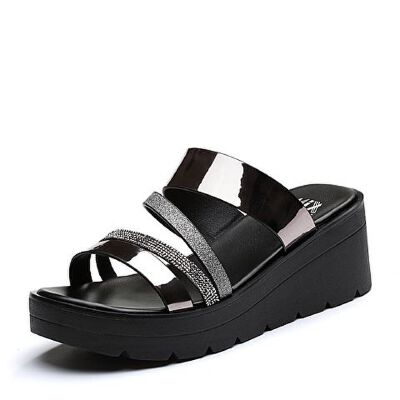 Teenmix/天美意2018夏专柜同款亮片多条带坡跟女拖鞋CDD05BT8