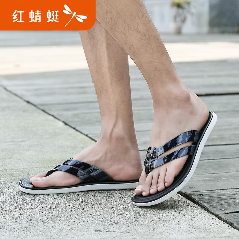 【领劵下单立减120】红蜻蜓男士拖鞋夏季新品潮流户外休闲漆皮凉拖鞋人字拖