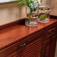 门口鞋柜超薄17cm红木色简约现代门厅柜储物柜家用进门翻斗窄柜a