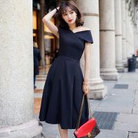 时尚连衣裙名媛V领露肩礼服裙无袖a字连衣裙女夏季2018新款中长款 黑色
