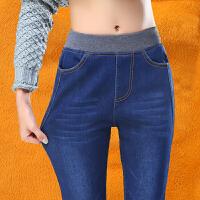 2018新款加绒加厚牛仔裤女长裤松紧腰高腰修身显瘦大码胖MM 深蓝色 加绒