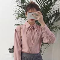 衬衫女装冬季新款韩版学院风宽松甜美长袖系带打底衫衬衣上衣 均码