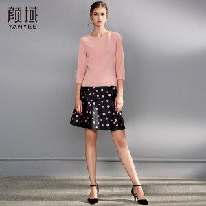 颜域秋装女2018新款品牌女装优雅复古七分袖打底衫上衣纯色针织衫