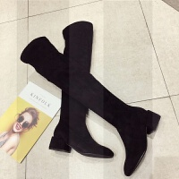 显瘦百搭方头长筒靴女2018新款瘦瘦靴高跟粗跟长靴子女冬季过膝靴SN7100 黑色