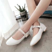 秋季新款女童皮鞋平底珍珠单鞋大童初中学生鞋