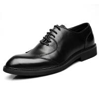 尖头英伦商务休闲皮鞋男秋季系带正装黑色男鞋青年发型师内增高 黑色 8953