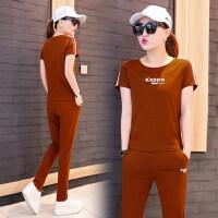 运动服套装女宽松休闲跑步女时尚潮短袖长裤两件套
