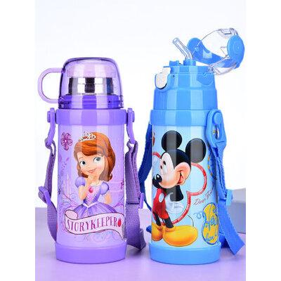 迪士尼儿童带吸管保温杯 小学生不锈钢水壶幼儿园宝宝两用防摔水杯 双盖两用 防漏耐摔 可感温变色 防止烫伤