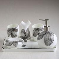 浴室洗漱用品卫浴五件套装卫生间刷牙漱口杯牙具陶瓷托盘套件