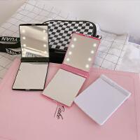 韩国 少女心粉色LED灯随手补妆镜可爱公主化妆镜便携折叠小镜子