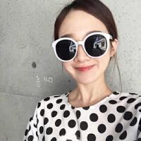 韩国韩版原宿zipper女 潮复古圆框米白色修脸太阳眼镜墨镜