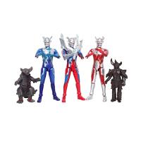 赛罗奥特曼玩具人偶模型套装银河超人变身器迪迦戴拿关节可动变形 赛罗三只VS软胶怪兽2只 超值礼包 送贴纸