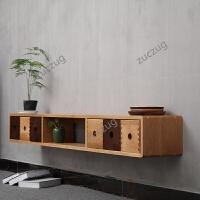 zuczug实木电视柜客厅影视墙壁挂机顶盒卧室挂墙白橡木置物架收纳柜隔板