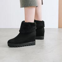 彼艾2018正品秋冬保暖雪地靴女靴厚底内增高厚绒平跟毛毛中筒靴女靴子