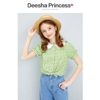 【抢购价:39】笛莎童装女童上衣2021夏新款中童大童儿童女女孩复古甜美格子衬衫