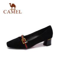 Camel/骆驼女鞋秋季新款优雅英伦风单鞋女复古浅口粗跟中跟鞋