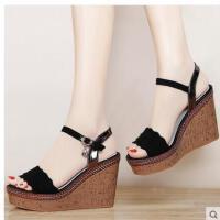 邻家天使新款韩版夏天女鞋子坡跟高跟厚底鱼嘴粗跟平底凉鞋女夏季1618-1