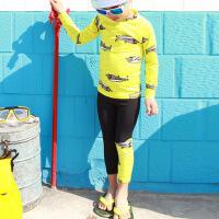 韩国新款儿童泳衣男童分体长袖长裤防晒速干卡通鲨鱼中大童潜水服