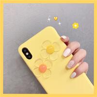 ins柠檬黄花朵iPhone7/8plus苹果x手机壳XS Max/XR个性套6s软壳女 XR 黄底透明花贴片