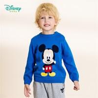 【2件3折到手价:73.5】迪士尼Disney童装 可爱米奇套头毛衣儿童肩开扣针织衫秋季新品舒适线衣男193S1267