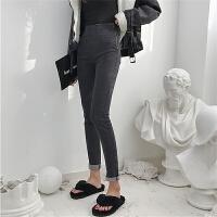 牛仔裤女修身学生韩版宽松气质高腰百搭铅笔裤长裤小脚裤紧身裤