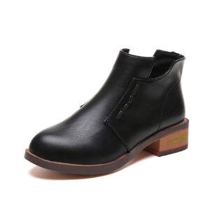 WARORWAR新品YM112-689秋冬韩版磨砂反绒低跟鞋女士靴子裸靴