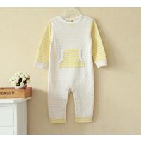 童装男女宝宝爬服婴儿粉色蓝色纯棉条纹连体衣哈衣睡衣