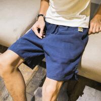 亚麻短裤男韩版潮流薄款宽松夏天5五分裤运动休闲男士沙滩裤中裤