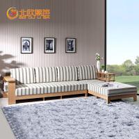 北欧篱笆实木沙发转角组合客厅单双懒人布艺简约现代小户型简约沙发