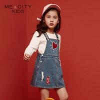 【1件2.5折到手价:70】米喜迪mecity童装新款女童字母织带背带牛仔连衣裙
