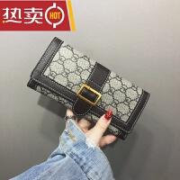 钱包女长款薄新款卡包折叠子母零钱包手包欧美复古软皮夹SN3731