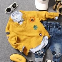 儿童毛衣秋冬男童宝宝V领不规则破边贴布绣套头针织线衫上衣