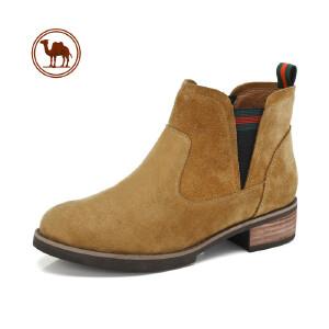 骆驼牌女鞋 新品时尚粗跟简约短筒女靴子套筒舒适女鞋