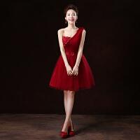 新娘敬酒服短款2017新款秋季伴娘服酒红色晚礼服结婚宴会演出礼服