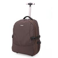 双肩拉杆包大容量旅行背包袋商务登机男女旅游手提行李箱包 咖啡色