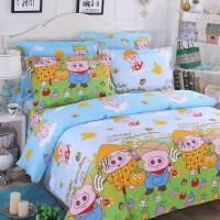 卡通四件套宿舍 纯棉1.5m床笠床单被套1.2儿童床上用品三件套4 翠绿色 麦兜的农场