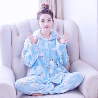 冬季法兰绒睡衣加厚珊瑚绒家居套装秋冬女士长袖开衫韩版甜美卡通