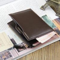 2018新款短款钱包男士拉链钱夹多功能竖款驾驶证抽卡皮夹青年钱包